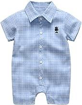 LiLiMeng 2019 New Infant Baby Boys Short Sleeve Turndown Gentleman Plaid Print Button Short Fold Romper Jumpsuit Clothes