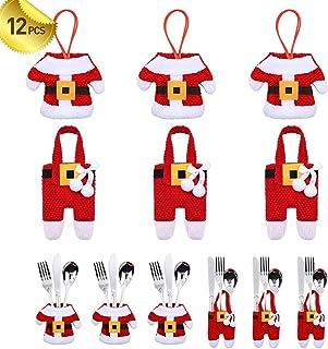 SAPU 12PCS Christmas Silverware Holders Christmas Tree Ornaments Party Decorations, Xmas Cutlery Tableware Holder Santa Su...