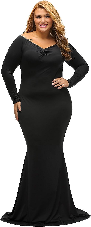 LALAGEN Women's Plus Size Off Shoulder Long Sleeve Formal Gown