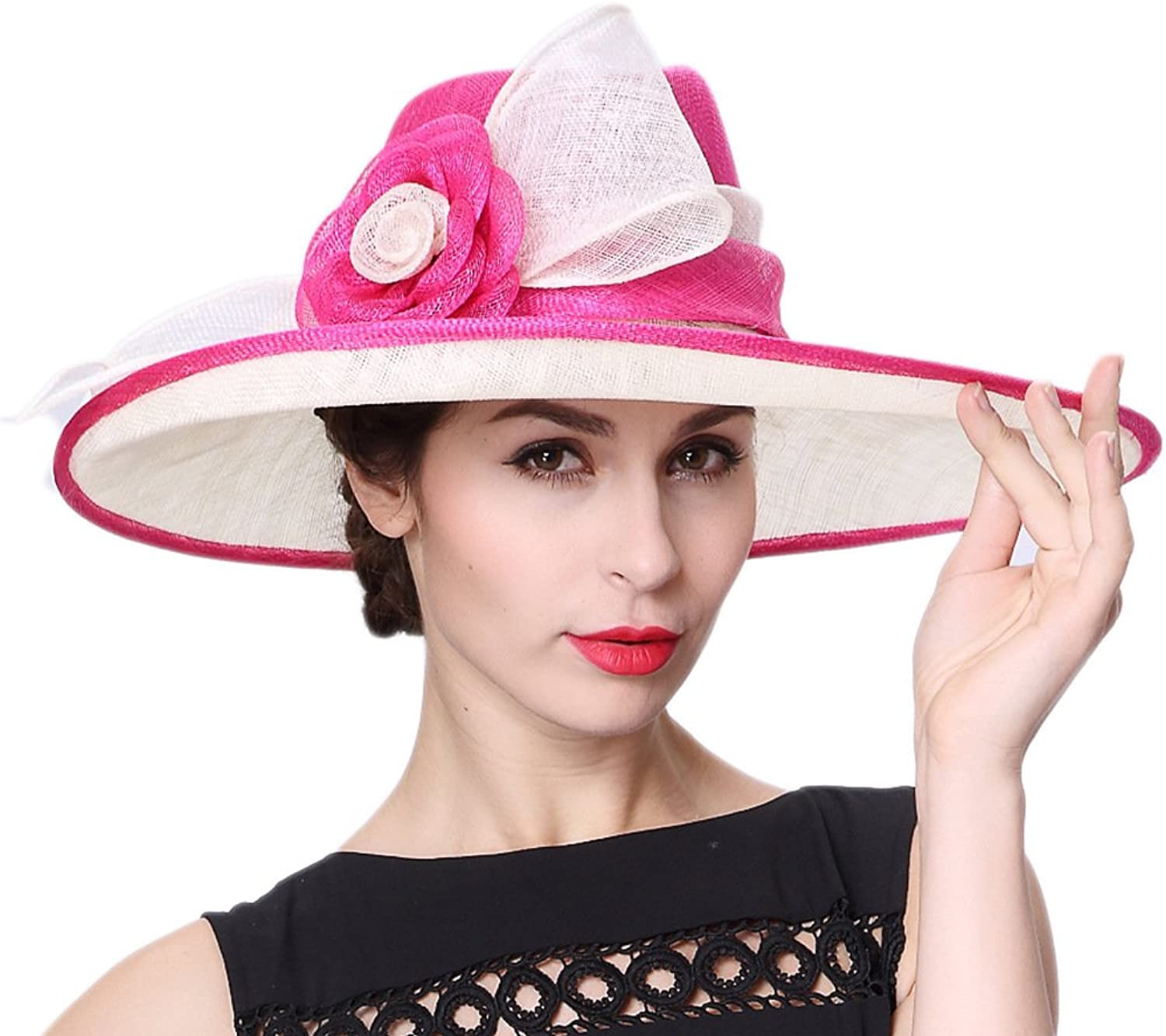 Koola's hats Lady Ascot Race Derby Hat 3 Layers Sinamay Wedding Hats pink red White