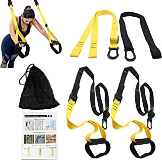 PetSply Upgraded Pro Bodyweight Fitness Resistance Trainer Kit, Full Body Training Straps System with 2 Extension Strap for Home Gym Indoor & Outdoor Travel Workouts Exercise