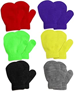 Hicdaw 6Pairs Toddler Mittens Knitted Winter Gloves Kids Gloves Gifts for 1-4 Years Kid