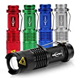 [5 Pack] Mini Led Flashlight 300 Lumens 3 Modes Adjustable Focus Zoomable Waterproof