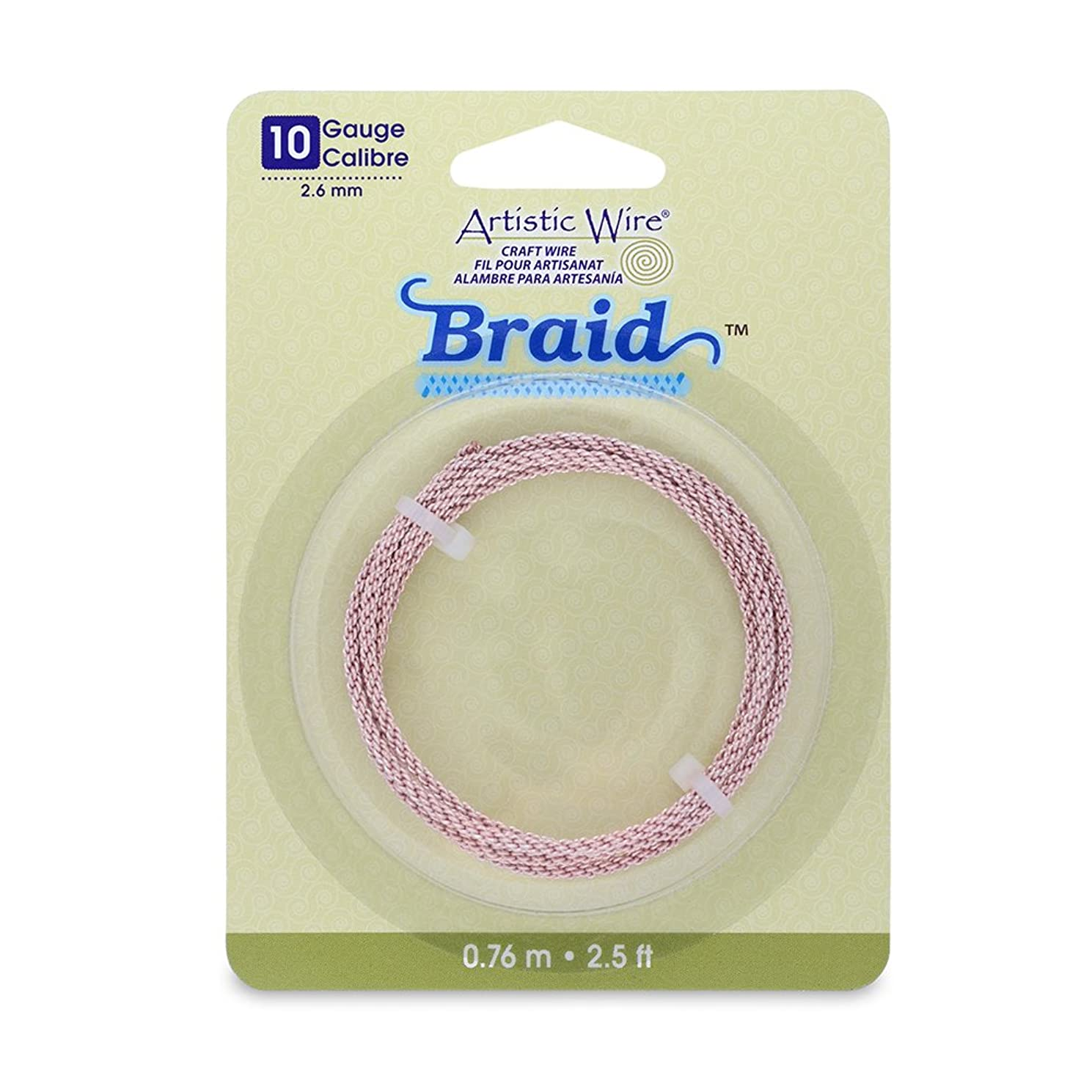 Artistic Wire 10-Gauge Round Braided Jewelry Making Wire, 2.5-Feet, Rose Gold