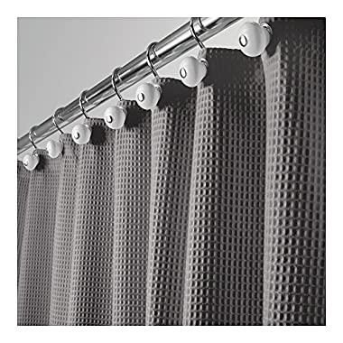 mDesign Hotel Quality Polyester/Cotton Blend Fabric Shower Curtain, Rustproof Metal Grommets - Waffle Weave for Bathroom Showers and Bathtubs - 72  x 72 , Gray