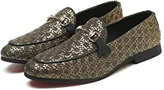 Happy-L Shoes, Elegant Classic Anti-Slip Oxford for Men Embossed Loafers with Metal Buckle Decor Slip on Stitch Low Block Heel Knit Genuine Leather