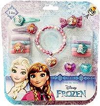 Disney Frozen Set de Belleza Anna y Elsa | Accesorios para el Cabello y Joyería | Pulsera | Anillo | Pinzas para el Cabello | Gomas para el Cabello | Cepillo Peine de Pelo |