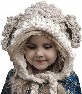 Winter Wool Knitted Handmade Hats Baby Girls Shawls Hooded Cowl Beanie Caps