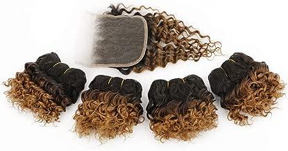 Short Ombre Curly Bundles with Closure Short Kinky Curly Human Hair Bundles with Lace Closure Ombre Brown Curly Virgin Hair Weave 50g/bundle (5 5 5 5 + 8 closure) 1b/30