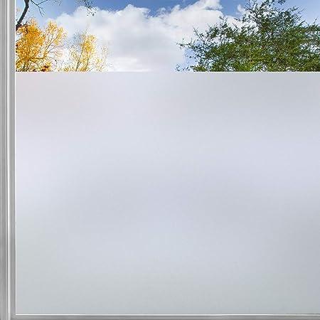 rabbitgoo Film Fenetre Electrostatique Occulant Anti UV Film Adhesif Vitre Reutilisable Anti Regard Statique Dépoli, la Grille Design pour Couper, pour Bureau Salle de Bain Chambre Cuisine 44.5x200CM
