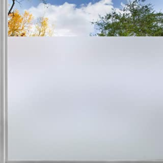 rabbitgoo Vinilo Ventana Privacidad, Esmerilado Vinilo Translucido Cristal Adhesivo Plus Rejilla Espaciada Cuadriculas Protector Privacidad Luz Solar Pegatina Decorativa contra UV 44.5x200CM