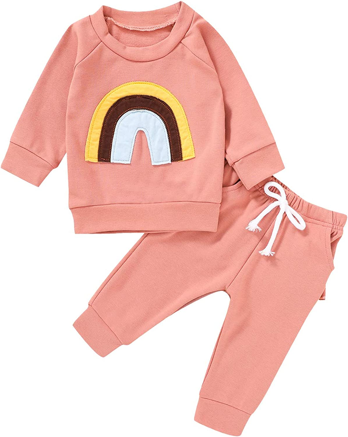 Infant Baby Girls Outfits Rainbow Print Sweatshirt Long Sleeve Pullover Shirt Tops Ruffle Pants Fall Winter Clothes Set