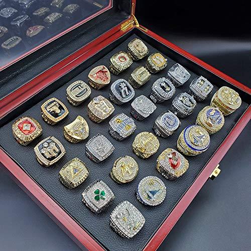 KHHK Anillo de Campeonato NBA 1990-2019, una colección de Equipos campeones anteriores Anillo de Campeonato 3D Diamond Bling Rings