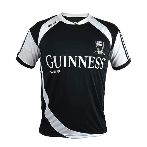 ed596731446 Guinness Soccer Jersey - Black/White Polyester Athletic Short Sleeve Shirt