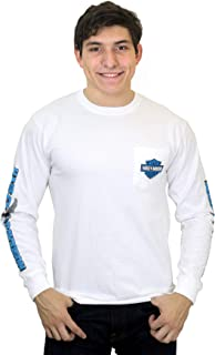 Mens Up Shield Eagle with B&S Pocket White Long Sleeve T-Shirt