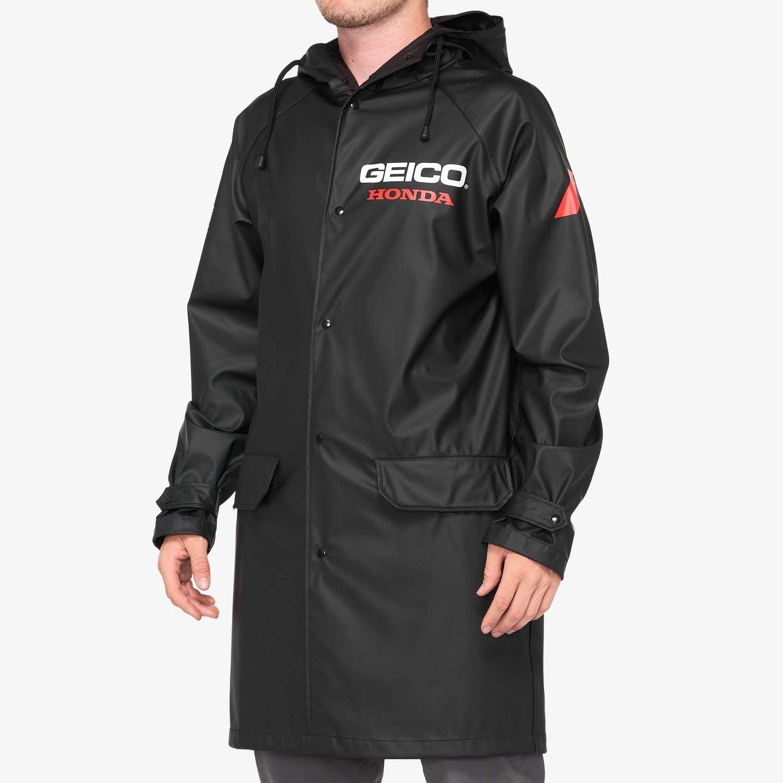 100% Geico Honda Slicker Hooded Raincoat (Small) (Black)