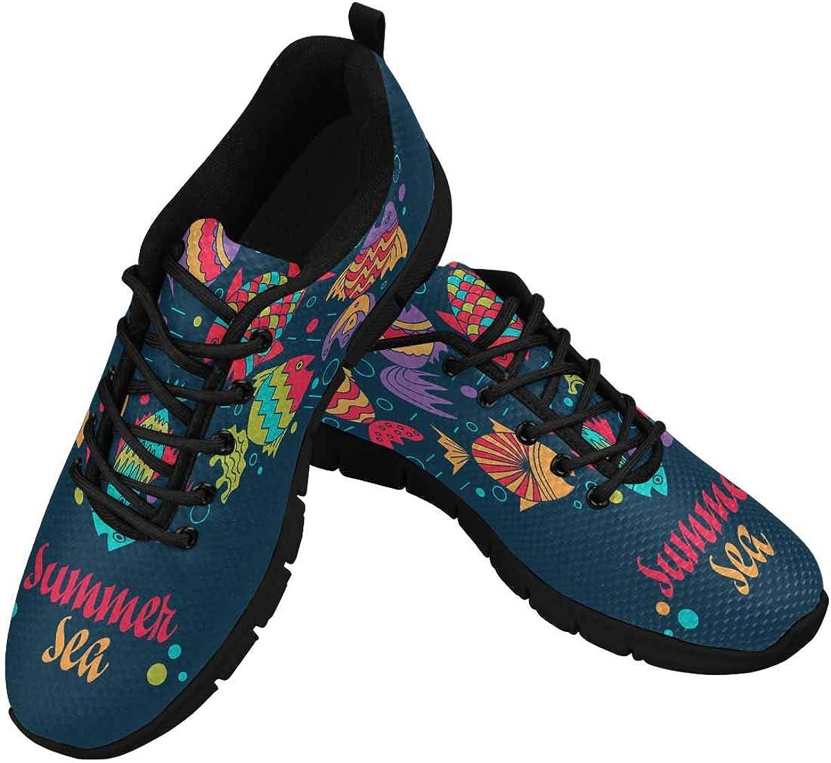 INTERESTPRINT Summer Sea Fish Women's Lace Up Running Comfort Sports Sneakers