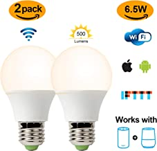 Smart Led Bulb, Warm White 60W Equivalent Dimmable Smart Led Light Bulb can Work with Alexa/Amazon Echo and Google Home. No Hub Required, CE/FCC/UL Listed (2-Pack-6.5W)