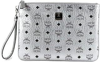 MCM Unisex Silver Coated Canvas Visetos Pouch Wristlet MXZ9SVI16SB001