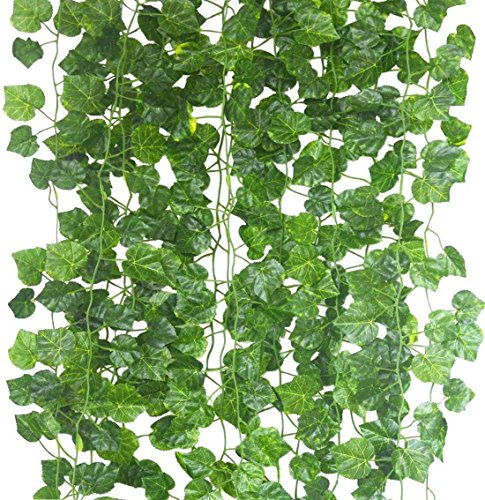 90 Inches-12 Pcs Artificial Grape Leaves Vines, Fake Ivy Leaves Plants Vine, Hanging Wedding Garland, Foliage Flowers Home Kitchen Garden Office Decor, Artificial Plant for Decoration