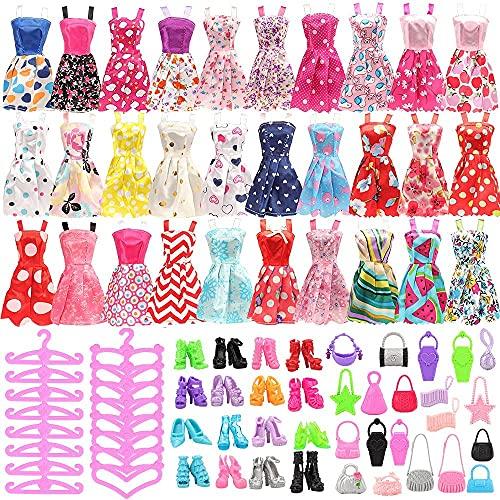 Miunana 60 Accesorios para 11.5 Pulgadas 28 -30 CM Muñecas (Estilos Aleatorios) = 15 Ropas Vestidos + 15 PCS Zapatos + 15 Muletas + 15 Bolsa