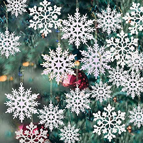 GuassLee 36 fiocchi di neve bianchi glitterati fiocchi di neve decorazioni per albero di Natale