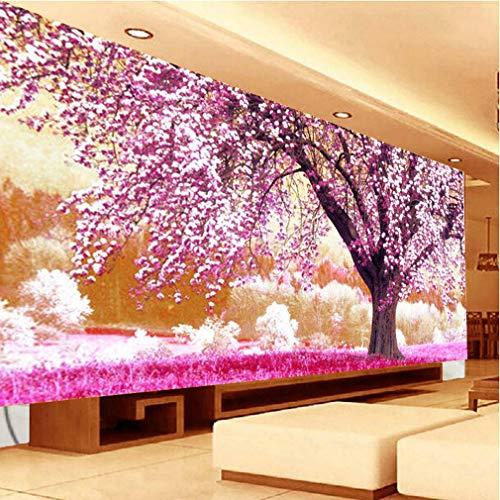 Nicole Knupfer Diamond pintura 5D Diamant Painting Set Lila Cereza Flores completas DIY salón dormitorio, 100 x 40 cm