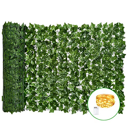Vinclus Artificial Ivy Green Leaf Hedge Privacy Protection + LED Light Decoration, Garden Fence Screening, Outdoor and Indoor Home Balcony Wall Decoration, Trellis Leaves Panel | 1 m X 3 m