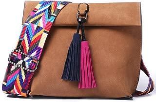 Womens Leather Crossbody Bag Tassel Colorful Strap Shoulder Bag