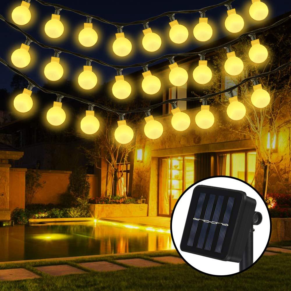 Solar Luz Cadena, nasharia 30 luces LED cadena Luz solar resistente al agua Jardín Decoración Iluminación bola para interior exterior, jardines, césped, para Navidad, fiesta – 6.5 M, Blanco cálido: Amazon.es: Iluminación