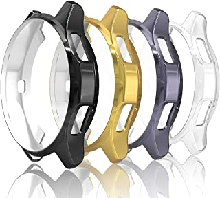 Simpeak Case Compatible with Samsung Gear S3 Frontier, Pack of 4, Soft Back Case Replacement for Galaxy Watch 46mm, Black/Space Grey/Gold/Clear