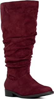 RF ROOM OF FASHION Women's Wide Calf Wide Width Low Heel Slouchy Knee High Boots w Pocket - Plus Size Friendly
