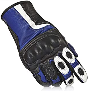 TAESOUW-Accessories Anti-Fall Locomotive Off-Road Riding Motorcycle Gloves Winter Men and Women Camping Tactical Hard Knuckle Short Gloves (Color : Blue, Size : XL)