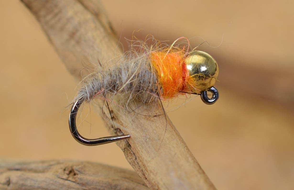 5 White Tungsten Beaded Hares Ear Nymphs Jigs Barbless Size 16 3.0 mm