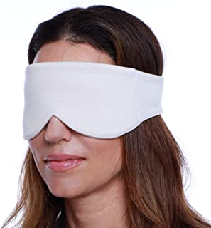 Happyluxe Sleep Eye Mask for Women and Men, Contoured Sleeping Mask & Blindfold, Eco Friendly, Blocks Out Light, Soft Comfort Eye Shade Cover for Travel, Napping, Migraines. Made in USA (Cool Grey)