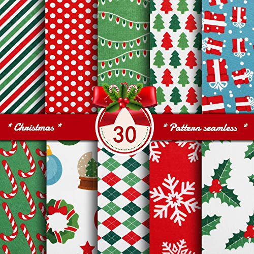 30 Pieces Christmas Cotton Fabric Christmas Fat Quarters Sewing Fabric Bundles 9.84 x 9.8 Inch Christmas Snowflake Print Red Green Fabric for Sewing Patchwork Wrapper