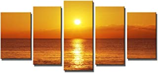 Wieco Art Canvas Print Golden Seaview 5 Panels Modern Canvas Wall Art for Home and Office Decoration