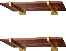Plankhouder 30 cm met lippen | 4 stuks moderne gouden plankdragers wandmontage | metalen ondersteuning voor wandrek | plan...