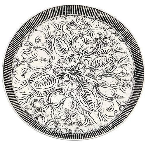 Orientalisches rundes Tablett aus Metall Animata 56cm | Marokkanisches Teetablett in der Farbe Weiss | Orient Tablett schwarz verziert | Orientalische Dekoration auf dem gedeckten Tisch