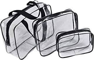 PVC Travel Storage Bags Clear Luggage Organizer Pouch Packing Cube Clothing Sorting Packages Pack of 3Pcs Black