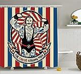 Circus Decor Set de Cortina de Ducha, nostálgica, Icon Der Starke Mann con Tatuajes y músculos, impresión artística Circus Star Fun, Accesorio de baño, Largo, Beige, Rojo