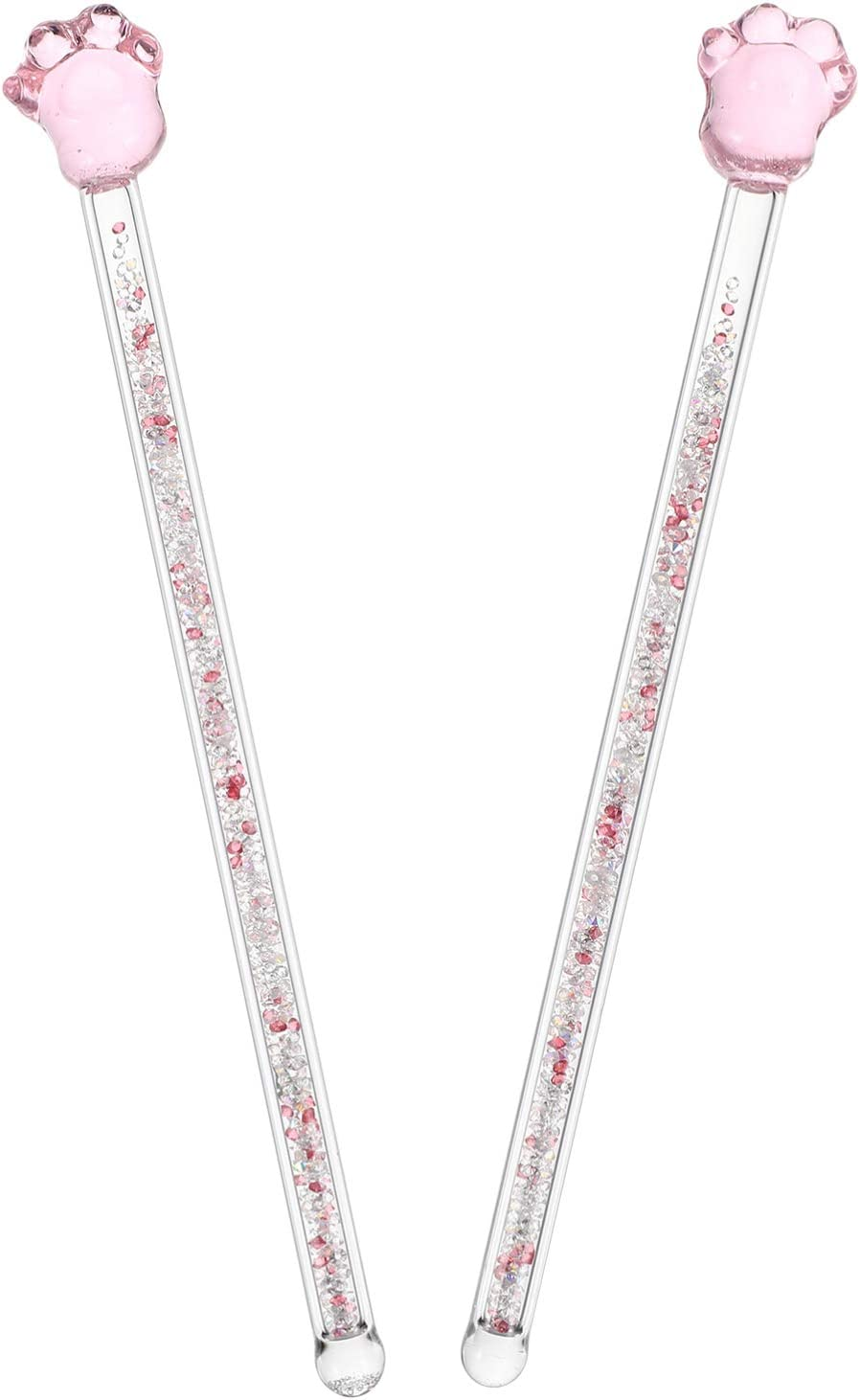 Hemoton 2pcs favorite Glass Drink Stirs Sticks Long Handle Stirri Swizzle New product!!