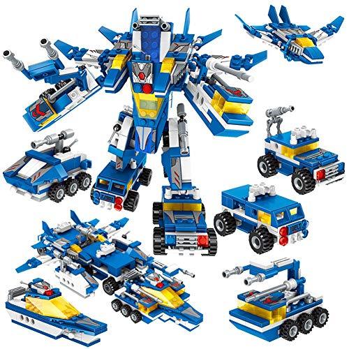 Hearthrousy Bausteine Spielzeug große Bausteine Gebäude Lernen Set der Transformers Spielzeug Auto Bausteine Pädagogische Bausteine6-in-1 LKW Baustein Kits Geschenk für jährige Jungen Mädchen