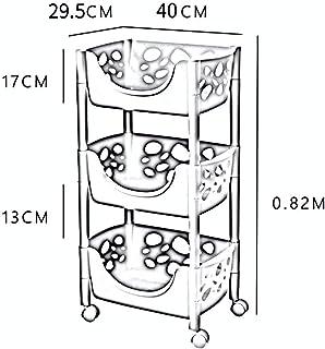 CAI Boîte de Rangement Domestique Cuisine en Bois Massif Étagères à roulettes Multicouches/Panier de Rangement pour Fruits...