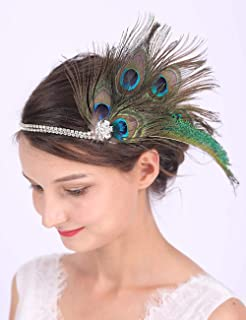 Anglacesmade Bridal Feather Headband Peacock Feather Fascinator Crystal Head Chain for Wedding 20s Flapper Headdress for Women and Girls