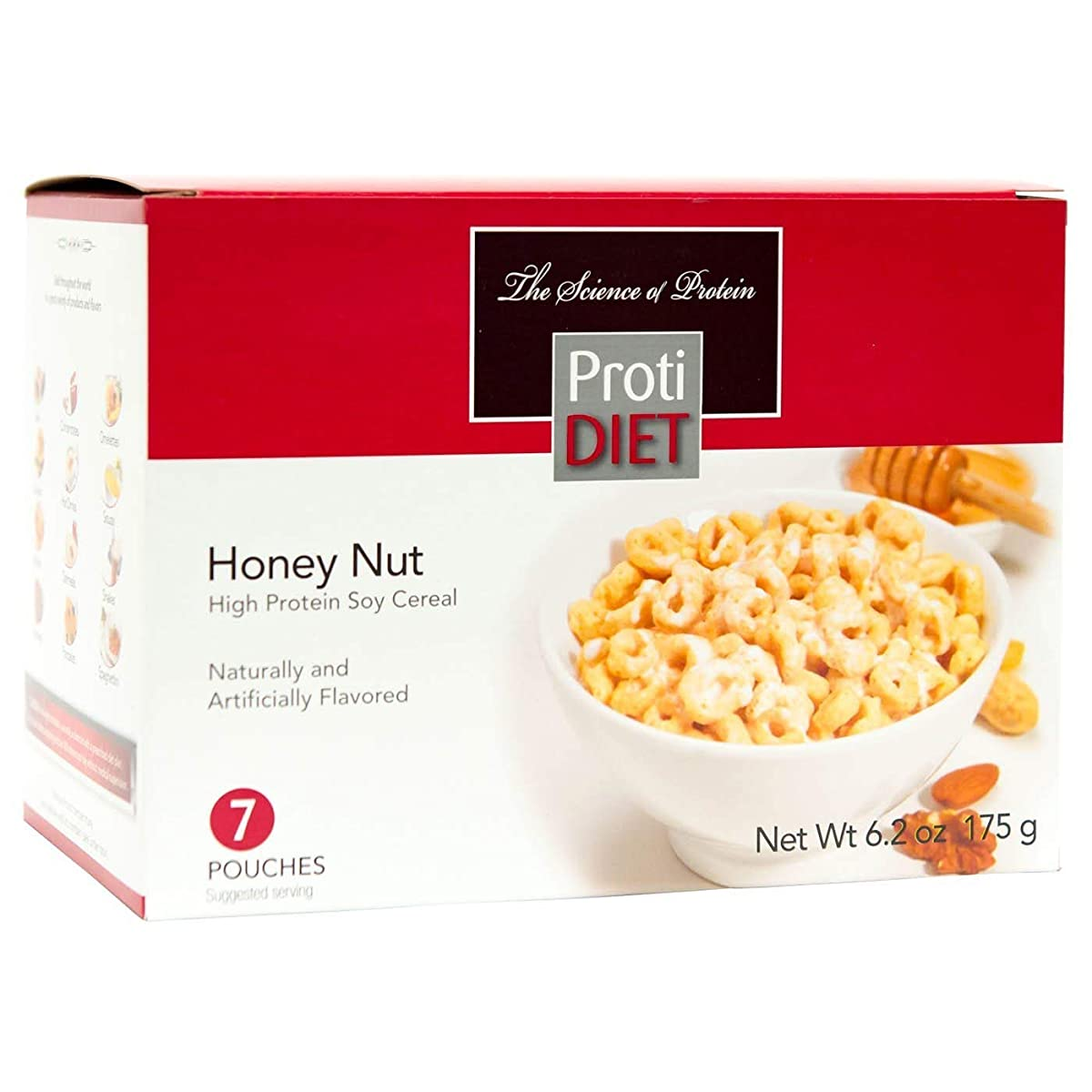 ProtiDiet Cereal - Honey Nut Soy (7/Box) - High Protein 15g - Low Calorie - High Fiber 4g