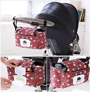 Baby Stroller Organizer Bag, Pram Buggy Organiser Storage Bag for Buggies, Diaper Bag Hanging Bottle Holder for Pushchair, with Sticky, Straps & Clips, Waterproof, Universal. (Red)