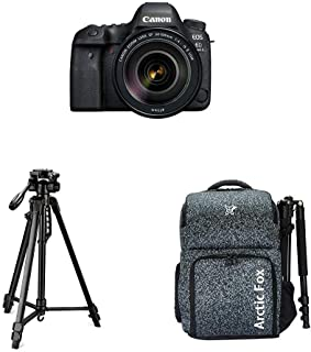 "Canon EOS 6D Mark II 26.2MP Digital SLR Camera + EF24-105 mm f/4L is II USM Lens with Digitek 550LW Tripod + Arctic Fox Camera Bag with Lens, 15.5"" Laptop & Tripod Holder"