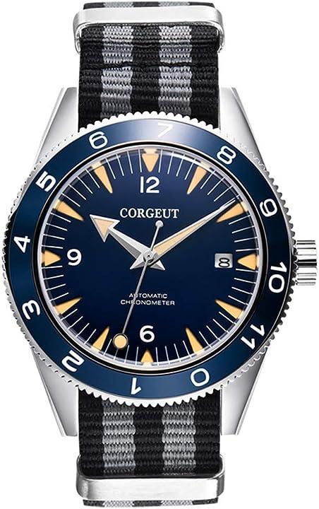 Orologio da uomo analogico corgeut automatico con cinturino in nylon, movimento miyota 8215 2013AN