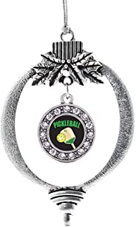 Inspired Silver - Pickleball Charm Ornament - Silver Circle Charm Holiday Ornaments with Cubic Zirconia Jewelry